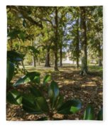 Magnolia Leaves Fleece Blanket