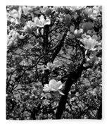 Magnolias In White Fleece Blanket