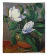 Magnolias On Brass Fleece Blanket