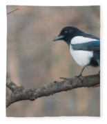 Magpie Perched On Twig Fleece Blanket