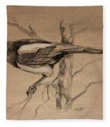 Magpie Sketch Fleece Blanket