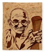 Mahatma Gandhi Coffee Painting Fleece Blanket