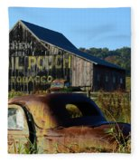 Mail Pouch Barn And Old Cars Fleece Blanket