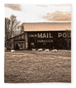 Mail Pouch Tobacco Barn And Sheep Fleece Blanket