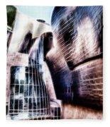 Main Entrance Of Guggenheim Bilbao Museum In The Basque Country Fractal Fleece Blanket