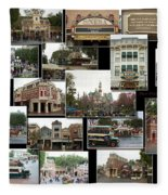 Main Street Disneyland Collage 02 Fleece Blanket