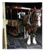 Main Street Horse And Trolley Fleece Blanket