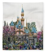 Main Street Sleeping Beauty Castle Disneyland 01 Fleece Blanket