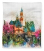 Main Street Sleeping Beauty Castle Disneyland Photo Art 01 Fleece Blanket