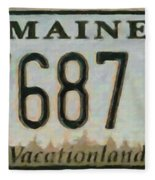 Maine License Plate Fleece Blanket