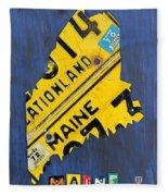 Maine License Plate Map Vintage Vacationland Motto Fleece Blanket