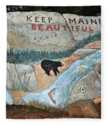 Maine Rock Painting Fleece Blanket