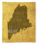 Maine Word Art State Map On Canvas Fleece Blanket by Design Turnpike