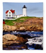 Maine's Nubble Light Fleece Blanket