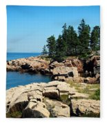 Maine's Rocky Coastline Fleece Blanket