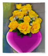 Majenta Heart Vase With Yellow Roses Fleece Blanket
