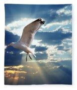 Majestic Bird Against Sunset Sky Fleece Blanket