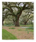 Majestic Live Oaks In Spring Fleece Blanket