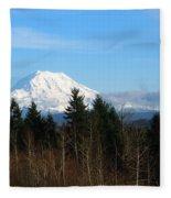 Majestic Mount Rainier Fleece Blanket