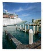 Majesty Of The Seas Docked At Key West Florida Fleece Blanket