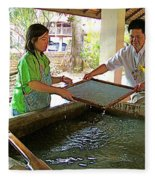 Making Paper Using Mulberry Tree Pulp At Boring Paper Factory In Chiand Mai-thailand Fleece Blanket