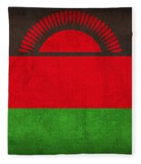 Malawi Flag Vintage Distressed Finish Fleece Blanket