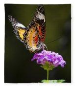 Malay Lacewing On A Flower  Fleece Blanket