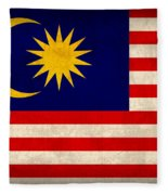 Malaysia Flag Vintage Distressed Finish Fleece Blanket