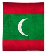 Maldives Flag Vintage Distressed Finish Fleece Blanket
