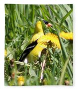 Male American Goldfinch Camouflage Fleece Blanket