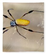 Male And Female Golden Silk Spiders Fleece Blanket