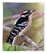 Male Downy Woodpecker Fleece Blanket