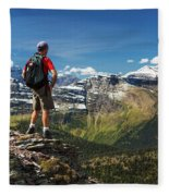 Male Hiker Standing On Top Of Mountain Fleece Blanket