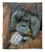 Male Orangutan  Fleece Blanket