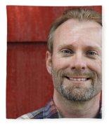 Male Smiling Fleece Blanket