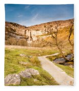 Malham Cove In Malhamdale Fleece Blanket