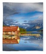 Maligne Boat House Fleece Blanket