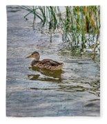 Mallard By The Reeds Fleece Blanket