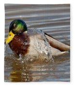 Mallard Drake Bathing Fleece Blanket