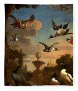 Mallard Golden Eagle Wild Fowl In Flight Fleece Blanket