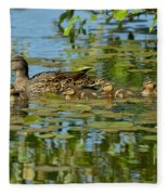 Mallard Mom And The Kids Fleece Blanket