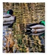 Mallards In The Reeds Fleece Blanket