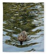 Mallards On Golden Pond 4 Fleece Blanket
