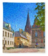Malmo Stortorget Painting Fleece Blanket