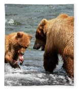Mama And Baby Grizzly Bear At The Falls Fleece Blanket