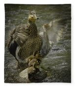 Mama Duck Protecting Her Babies Fleece Blanket