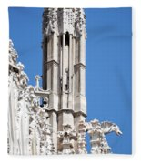 Man And Dragon Gargoyles With Tower Duomo Di Milano Italia Fleece Blanket