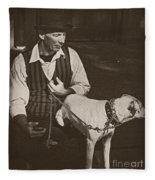 Man And White Dog In New Orleans Fleece Blanket