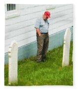 Man At Headstone Fleece Blanket