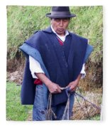 Man At Otavalo Animal Market Ecuador Fleece Blanket